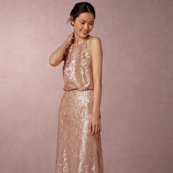 ae58c026 Donna Morgan Dresses | Bhldn Alana Sequin Dress Rose Gold 0 | Poshmark